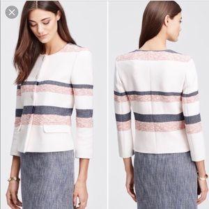 New Ann Taylor Petite Striped Fringe Tweed Jacket